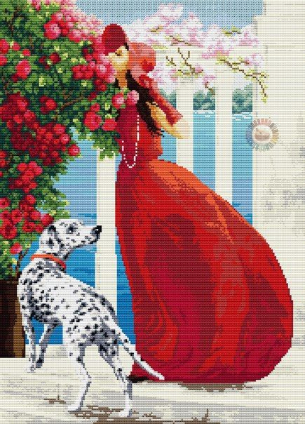 #Woman in red #Dalmatian #Roses