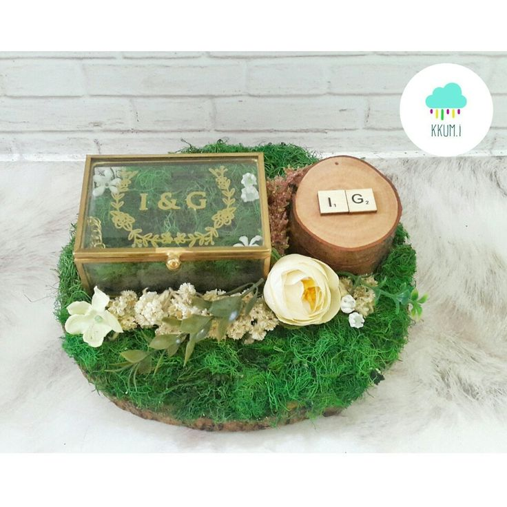 Glass ring box & wooden ring box combination