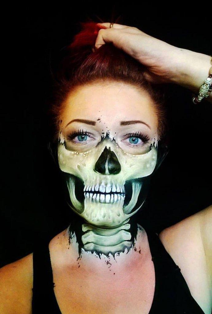 creepy halloween makeup of nikki shelley - Scary Face Paint Ideas For Halloween