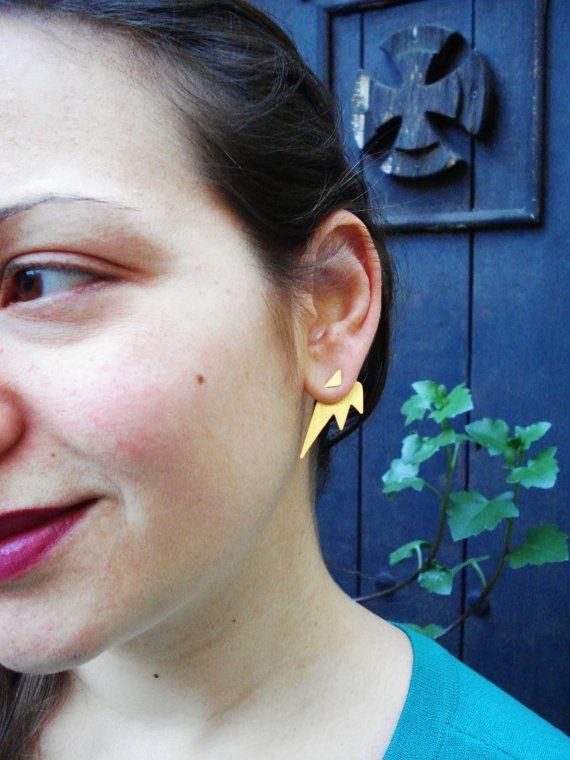 Ear jacket earrings-Back Ear Silver Earrings- Front Back Earring- Two Tone Triangles Silver Earrings- Back Ear Cuff