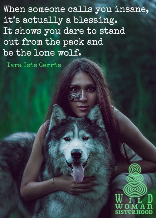 When someone calls you insane,  it's actually a blessing.  It shows you dare to  stand out from the pack  and be the lone wolf. -Tara Isis Gerris ** WILD WOMAN SISTERHOOD ** Embody your Wild Nature #wildwoman #wildwomansisterhood #clarissapinkolaestes #sisterhood