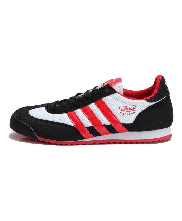 7162c462077ac6 Adidas Dragon Black White Red Trainers