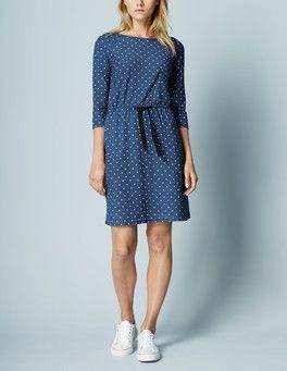 Indigo/Ivory Small Spot Peggy Drawstring Dress Boden