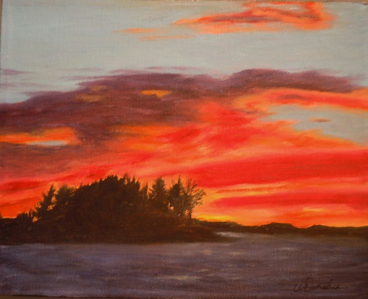 2014-17  Muskoka Beach Sunset, 8 x 10 inches, Unframed, Oil on canvas  Along Muskoka Beach Road in Gravenhurst, just past Taboo Resort you'll find a small beach area renowned for its magnificent sunset views over Lake Muskoka