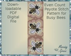 Busy Bees Peyote Pattern Even Count Peyote Seed by Morningreen