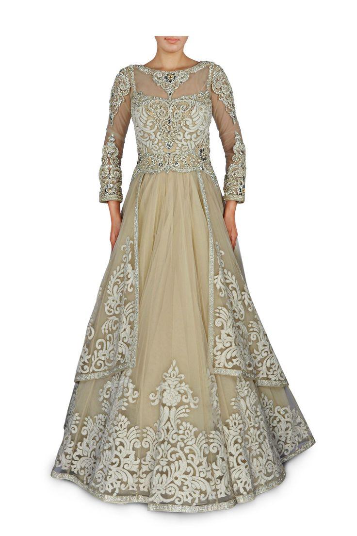 Cream floral thread work gown