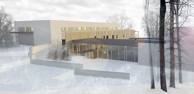 Architectural rendering + Winter landscape collage // Illustrator + Photoshop // Arkitektkontoret Brekke Helgeland Brekke AS