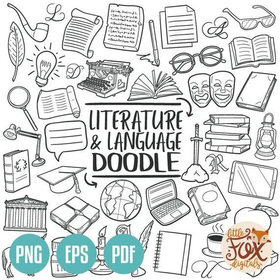 Icons Discover Literature And Language Doodle Vector Icons Subject School Learn Doodle Icons Clipart Hand Drawn Line Art In 2020 Doodle Icon Line Art Design Doodles