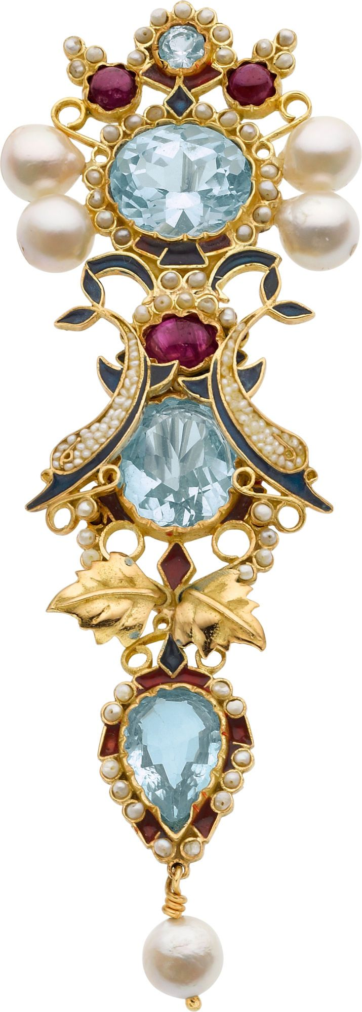 A Jaw Dropping Gorgeous Jewel - Gold, Pearls, Rubies, Light Sapphire or Aquamarine and Enamel *(must look for info... by whom/when & where?)*♥≻★≺♥