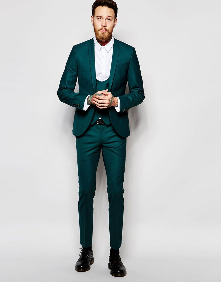 Image 1 of Noose & Monkey Green Suit with Stretch And Shawl Lapel in Super Skinny Fit