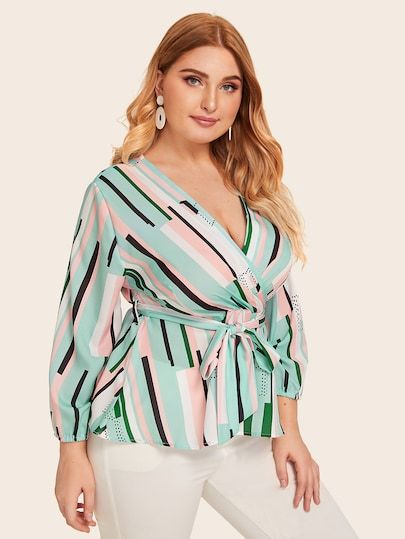 Plus Colorful Geometric Surplice Front Belted Blouse 3