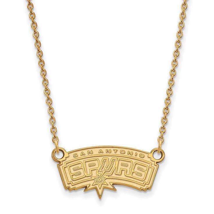Sterling Silver w/GP NBA LogoArt San Antonio Spurs Small Pendant w/Necklace