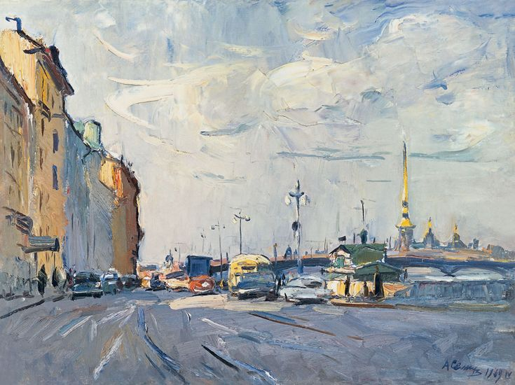 Arseny Semionov — The Leningrad in the morning. 1969. Oil on canvas, 60 x 80 cm / #SaintPetersburg