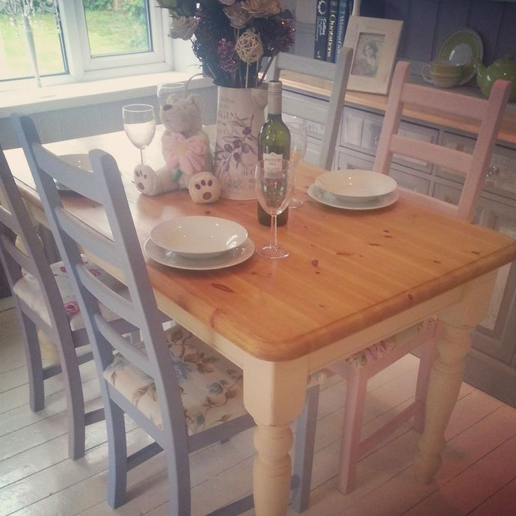 Shabby Chic Solid Pine Farmhouse Table And 4 Mismatch Ladder Back Chairs