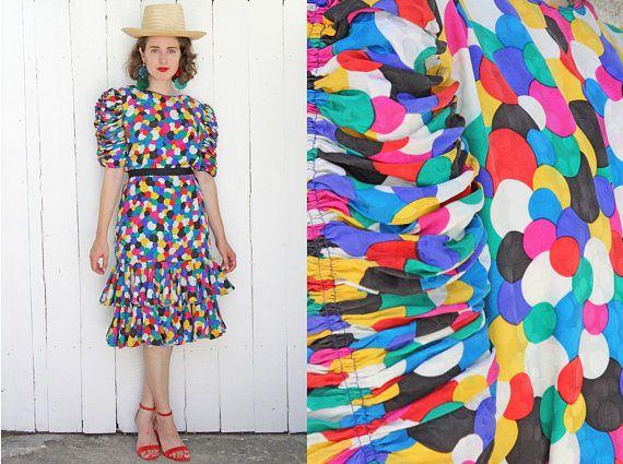 Vintage 80s Dress | 80s Silk Cocktail Raul Blanco Multicolor Dots Dress Statement Sleeves Ruffles | Medium M