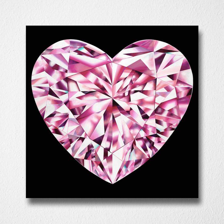 Passionate Heart (Canvas print) by Reena Ahluwalia. Fancy Vivid Pink Heart shaped Diamond. Starts from 295.00. #FancyColorDiamonds #DiamondPaintings #DiamondArt #ReenaAhluwalia #PinkDiamond #HeartShapedDiamond #HeartShaped