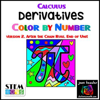 Derivatives Color by Number, Version 2 If you liked Derivatives Color by Number Version 1, you will love this one, too. This fun, engaging activity includes 14 questions on derivatives after the chain rule. Problems include trig functions, inverse trig functions, exponentials, radicals, quotients and logarithms (see preview for