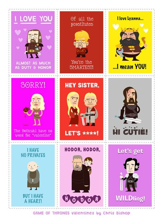 Game of Thrones Valentines byy Chris Bishop
