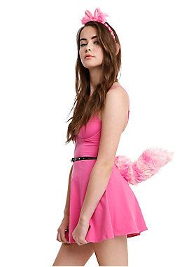 Transform into the Cheshire Cat with this faux fur cat ears headband and tail set.