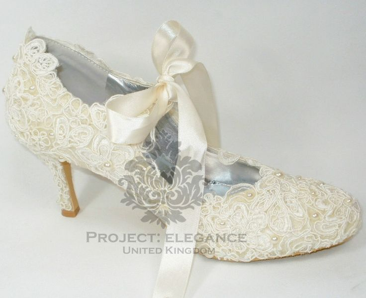 Womens New Ivory Pearl Vintage Lace Close Toe Mid High Heel Shoes Bridal Wedding