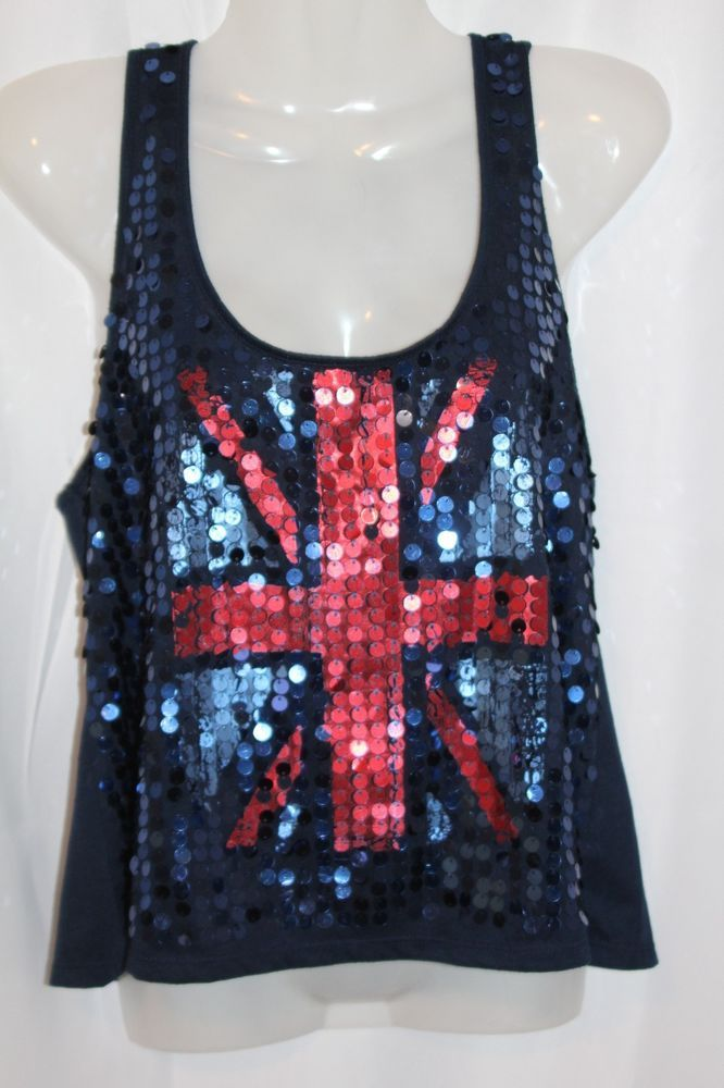 8455c299b4bcc5 Almost Famouse Women s Sequin British Flag Tank Top Size Large Blue Union  Jack  AlmostFamous  Cami  Casual