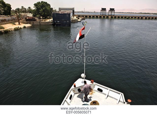 Touristic cruise crossing Esna bridge, Nile, Egypt
