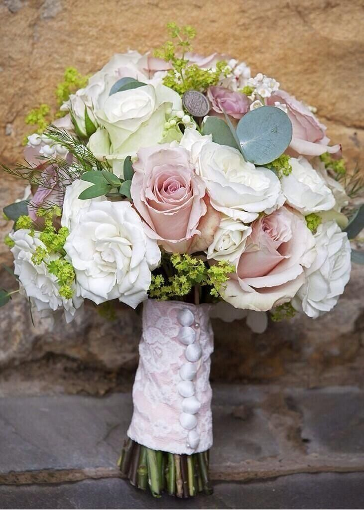 Stephanie Saunders Floral Design Wedding bouquet bound with a lace wrap