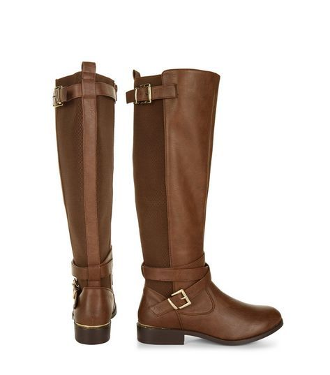 Tan Leather-Look Elasticated Panel Riding Boots  | New Look