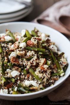 Creamy Goat Cheese Asparagus Quinoa Salad, loaded with delicious flavors your family will love. A quick easy gluten free recipe that makes a great lunch or side dish.