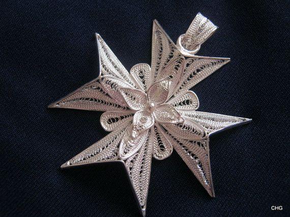 Wisiorek srebrny krzyż Malta upominek rękodzieło