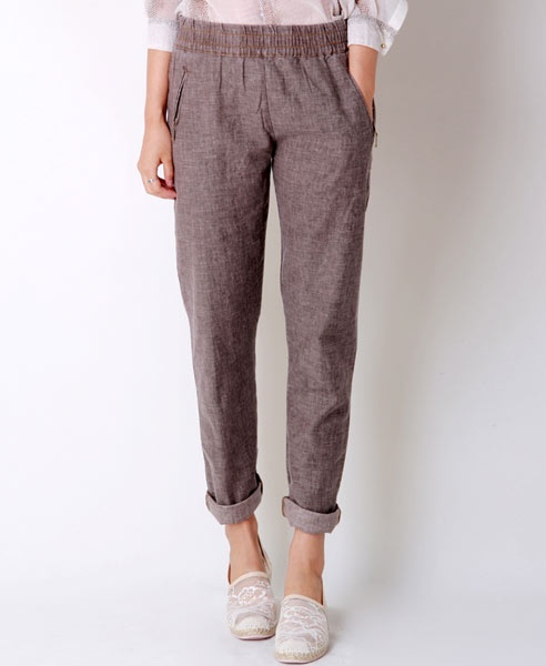 Linen Pants- skinny elastic