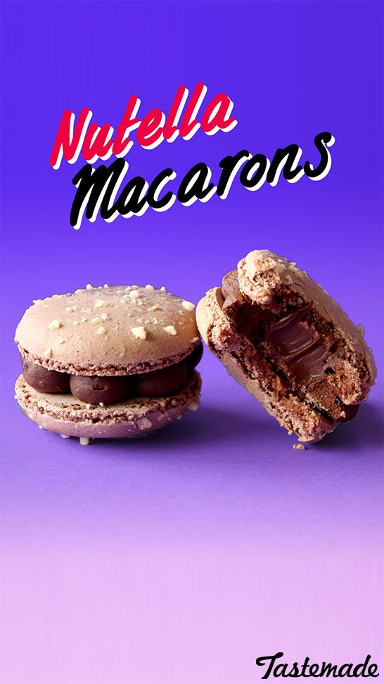 Rich Cocoa macaron cookies with a Nutella ganache filling and a Nutella centre!