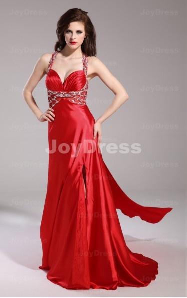 shop red dresses uk,Slit Sheath Halter Floor-length Dress