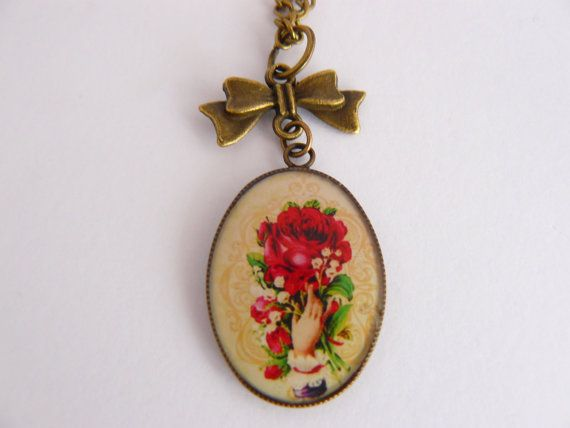Bouquet and bow necklace on Etsy, $20.00