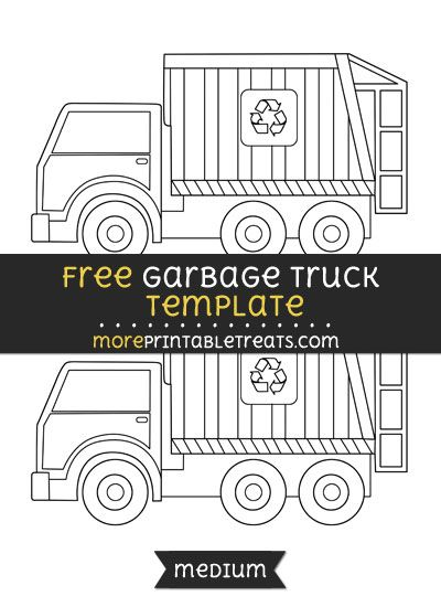 free garbage truck template medium shapes and templates