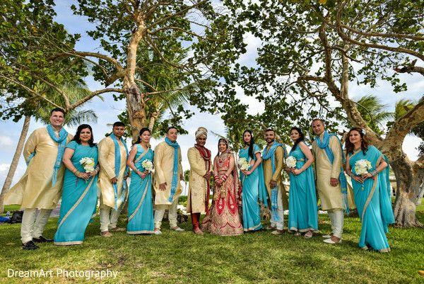 Indian couple, bridesmaids and groomsmen outdoor group photo at Moon Palace Cancun #destinationwedding
