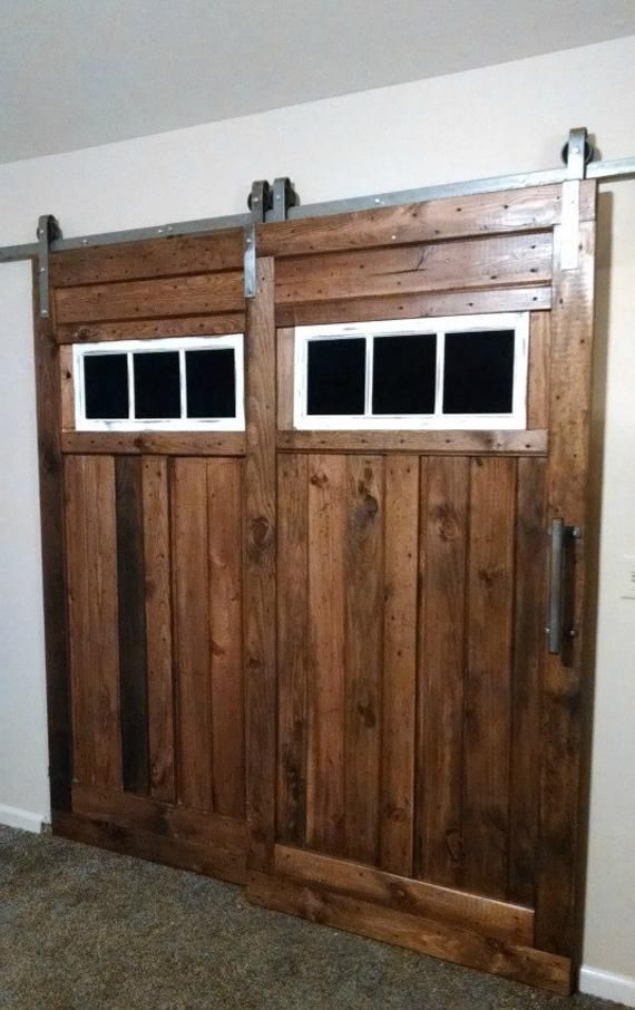 Bypass Sliding Barn Door Hardware Kit With Track System For 2 Doors