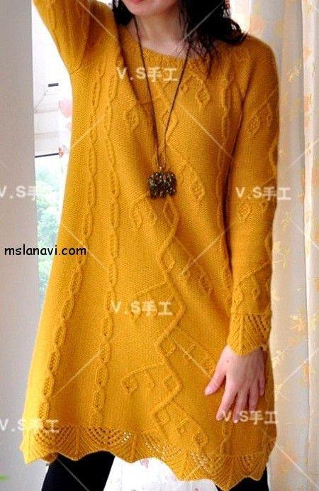 вязаные модели спицами со схемами платье  СХЕМА / PATTERN http://mslanavi.com/2014/10/vyazanye-modeli-spicami-so-sxemami-uzora-vetka/