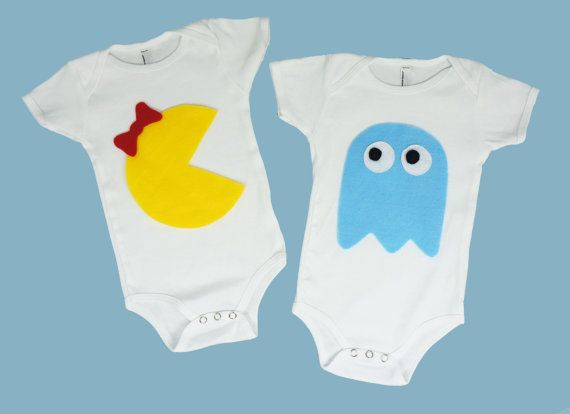 Baby clothes for twins, Pac Man inspired retro video game onesies, baby gifts on Etsy, $34.99