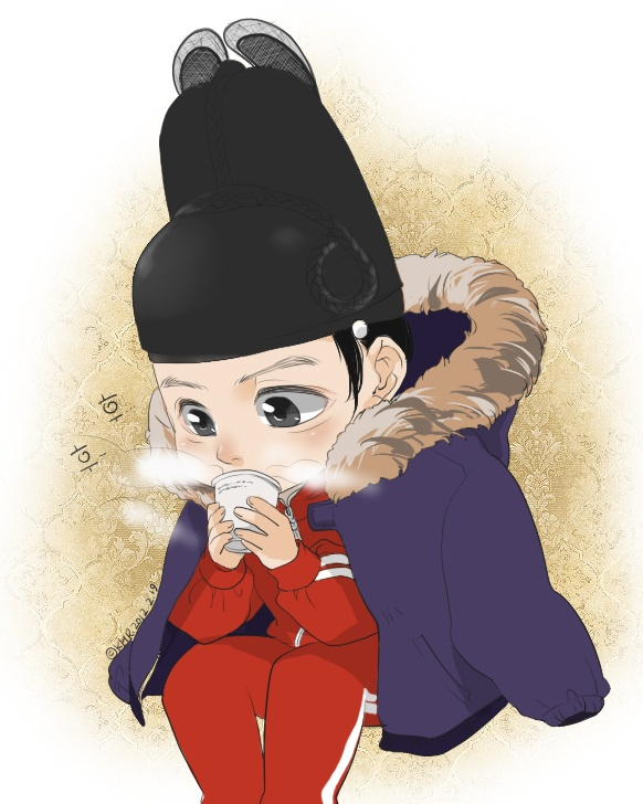 Rooftop prince drawing by a fan