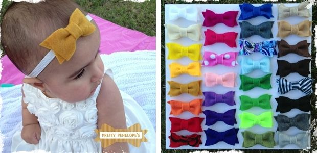 Dainty Felt Hair Bows - 31 colors to choose from! These would be easy enough to make and felt is cheaper than ribbon.