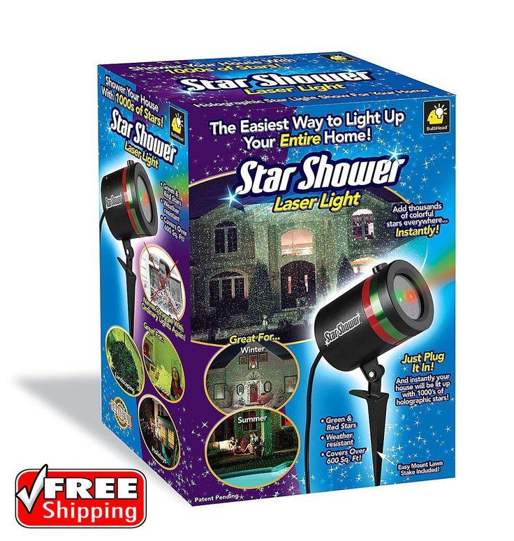 Outdoor Laser Christmas Lights Star Shower Projector 600 ft2 Weather Resistant #StarShower