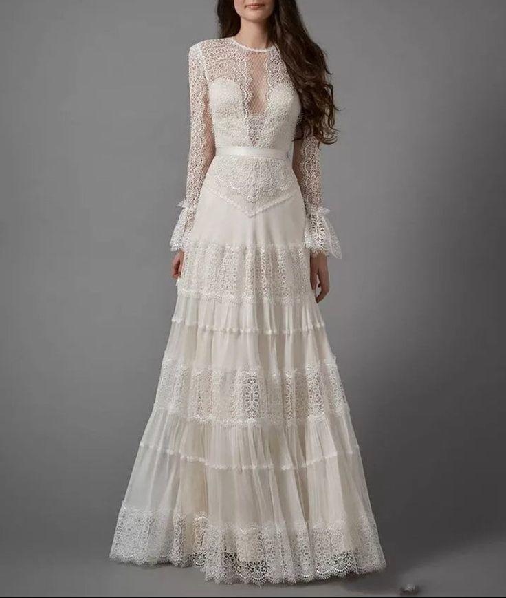 Eleni calliste bride wedding dress boho dress antique
