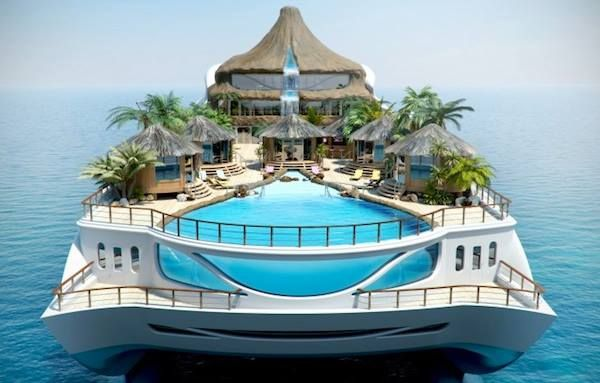 Tropical island on a yacht concept. Now you don't even need to leave the yacht!