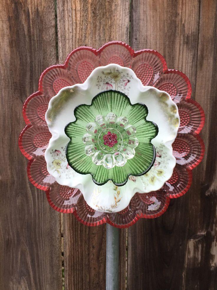 """Plate flower, Vintage Glass, Garden Decor """"Rosetta """" by FancysGarden on Etsy https://www.etsy.com/listing/497269882/plate-flower-vintage-glass-garden-decor"""