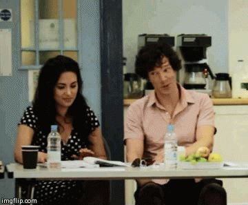 Yasmine Akram (Janine) and Benedict Cumberbatch (Sherlock) at the Sign of Three - her response to him is how all of us would be.