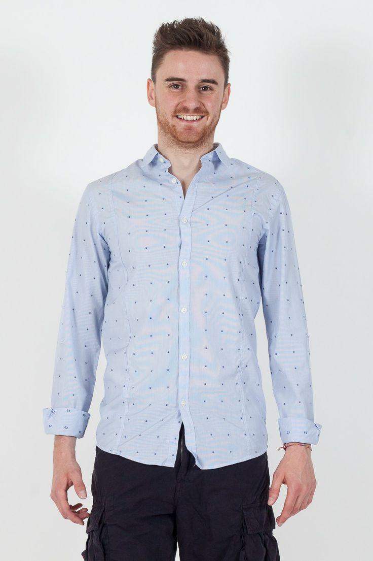 #Camicia da #uomo Premium by #Jack&Jones.  - Fantasia microriga con pois - Slim Fit - 100% Cotone - Lavaggio a 40°C