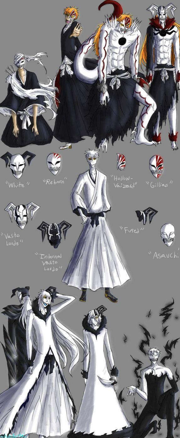 """I have no name"" ""White"" ""Hollow Ichigo"" ""Hichigo Shirosaki"" ""Ogihci"" ""Vaizard"" ""Vasto Lorde"" ""Hollow Mask"" ""Inner Hollow"" ""Asauchi"" | I think Kubo just likes to mess with our heads when it comes to Ichigo xD the dude is everything!"