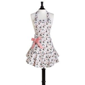 Kitchen fashion: Retro / Vintage apron - Decorated with Paris Eiffel Tower and Pink Bow
