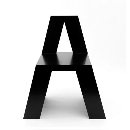 on something, zeroing: alphabet chair by Roeland Otten
